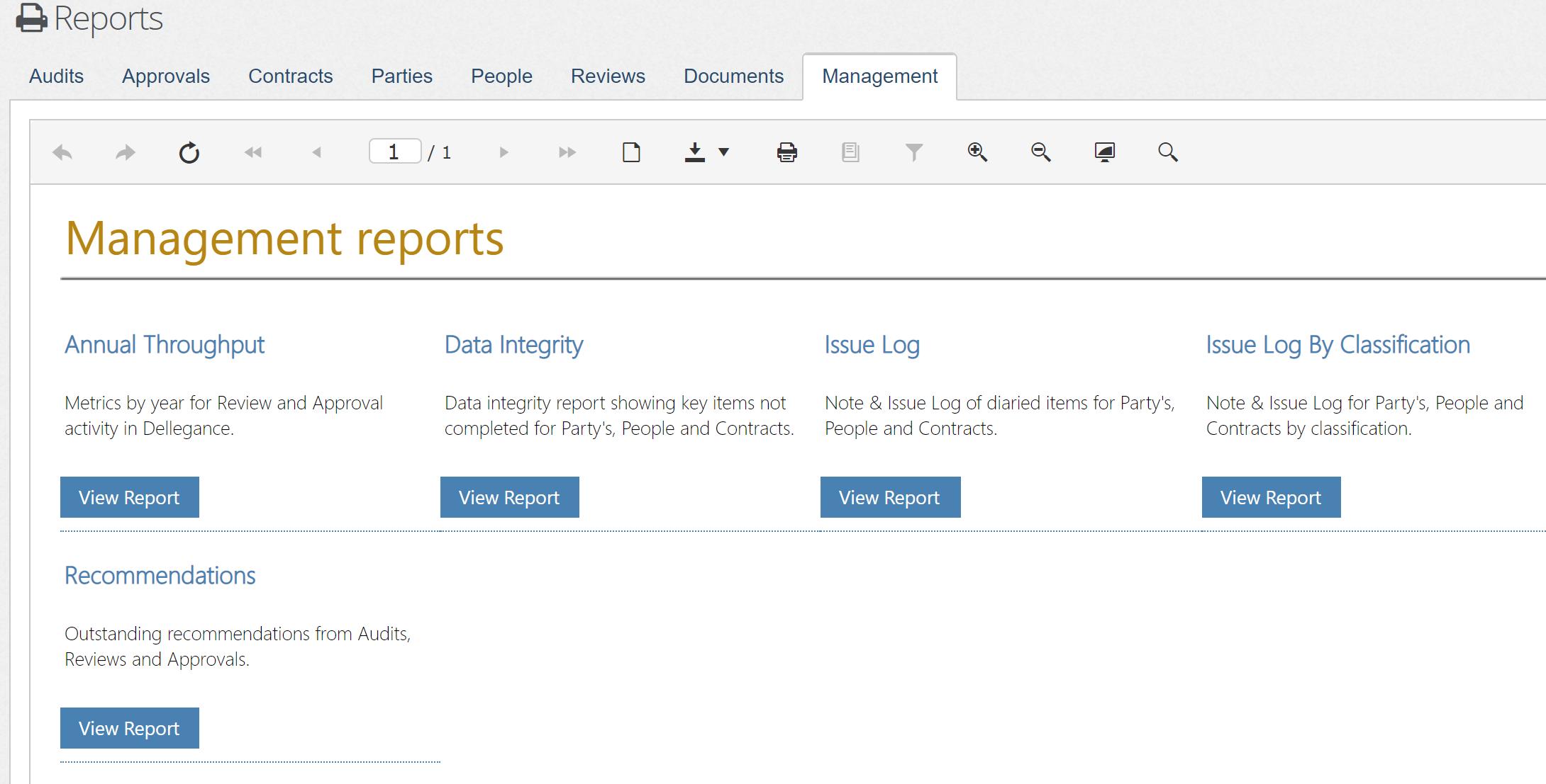 Report menu example
